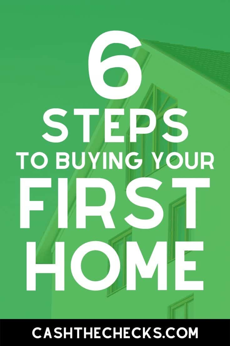 Do you want to own a home? Want to become a homeowner? Here are the 6 steps to buying your first home. #firsthome #mortgage #homeloan #cashthechecks