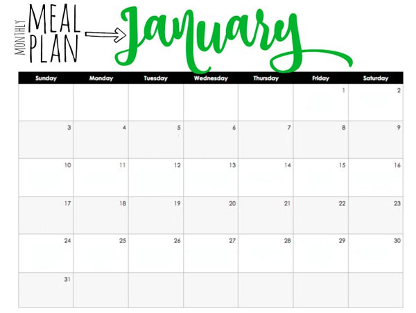 Monthly Meal Plan Example