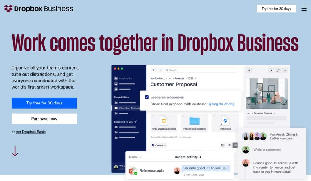 Dropbox for businesses