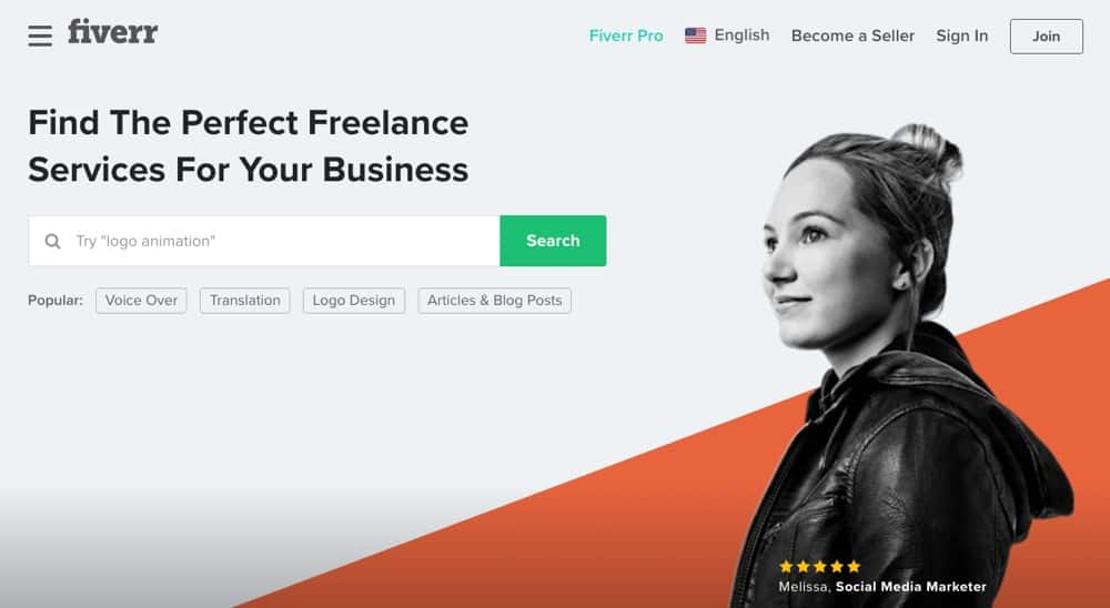 Find freelancers on Fiverr